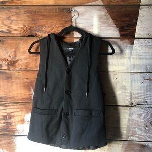 Carbon Black Hoodie Vest Size Small Pockets